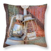 Antique Kerosene Lamps Throw Pillow by Mary Lee Dereske