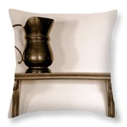 Antique Pewter Pitcher On Old Wood Shelf Throw Pillow by Olivier Le Queinec