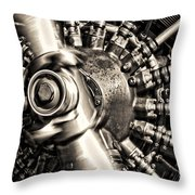 Antique Plane Engine Throw Pillow by Olivier Le Queinec