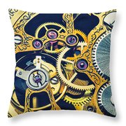 Antique Pocket Watch Gears Throw Pillow by Garry Gay