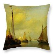 Antonie Waldorp Vissersboten Op Kalm Water Throw Pillow by MotionAge Designs