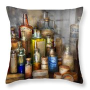 Apothecary - For All Your Aches And Pains  Throw Pillow by Mike Savad