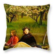 Apple Blossoms Throw Pillow by John Everette Millais
