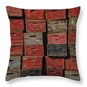 Apple Crates Throw Pillow by Garry Gay