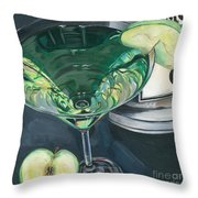 Apple Martini Throw Pillow by Debbie DeWitt