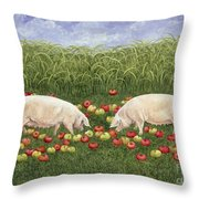 Apple Sows Throw Pillow by Ditz