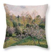 Apple Trees In Blossom Throw Pillow by Camille Pissarro