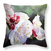 Apricot Flowers Throw Pillow by Irina Sztukowski
