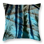 Aqua And Brown Leaf Montage Throw Pillow by Bonnie Bruno