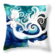 Aqua Mermaid Throw Pillow by Genevieve Esson