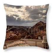Arch Bridge And Hoover Dam Throw Pillow by Robert Bales