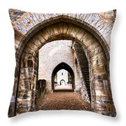 Arches Of Valentre Bridge In Cahors France Throw Pillow by Elena Elisseeva