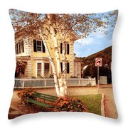 Architecture - Woodstock Vt - Where I Live Throw Pillow by Mike Savad