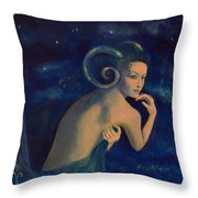 Aries From Zodiac Series Throw Pillow by Dorina  Costras