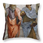 Aristotle And Plato Detail Of School Of Athens Throw Pillow by Raffaello Sanzio of Urbino