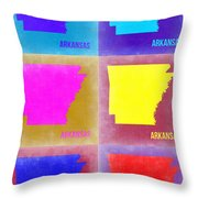 Arkansas Pop Art Map 2 Throw Pillow by Naxart Studio
