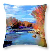 Arkansas River In Salida Co Throw Pillow by Charles Muhle