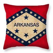 Arkansas State Flag Art on Worn Canvas Throw Pillow by Design Turnpike
