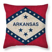 Arkansas State Flag Throw Pillow by Pixel Chimp