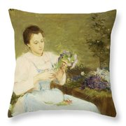 Arranging Flowers For A Spring Bouquet Throw Pillow by Victor Gabriel Gilbert