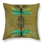 Art Nouveau Damselflies Throw Pillow by Jenny Armitage