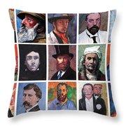 Artist Portraits Mosaic Throw Pillow by Tom Roderick