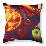 As American As Baseball And Apple Pie Throw Pillow by Lianne Schneider
