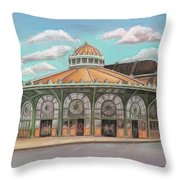 Asbury Park Carousel House Throw Pillow by Melinda Saminski