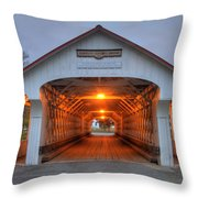 Ashuelot Covered Bridge Throw Pillow by Joann Vitali