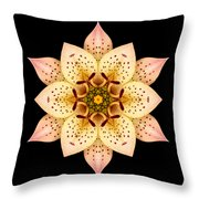 Asiatic Lily Flower Mandala Throw Pillow by David J Bookbinder