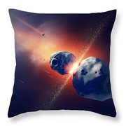 Asteroids Collide And Explode  In Space Throw Pillow by Johan Swanepoel