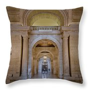 Astor Hall At The New York Public Library Throw Pillow by Susan Candelario