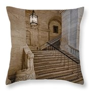 Astor Hall Nypl Throw Pillow by Susan Candelario