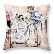 At the barber and reading Le Jockey Throw Pillow by Thelem