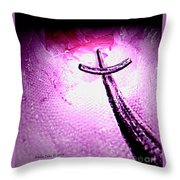 At The Foot Of The Cross Throw Pillow by Annie Zeno