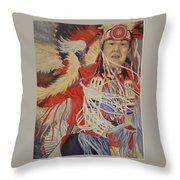 At The Powwow Throw Pillow by Wanda Dansereau