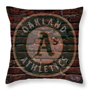 Athletics Baseball Graffiti On Brick  Throw Pillow by Movie Poster Prints