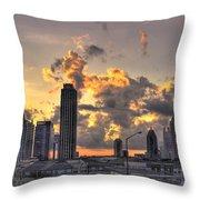 Atlanta Sunrise On Atlantic Station Commons And Midtown Atlanta Throw Pillow by Reid Callaway