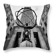 Atlas At The Rock Throw Pillow by John Farnan