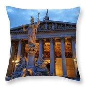 Austrian Parliament Building Throw Pillow by Mariola Bitner