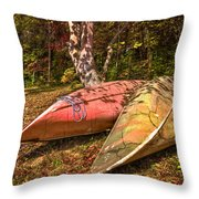 Autumn Canoes Throw Pillow by Debra and Dave Vanderlaan
