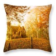 Autumn Cottage Throw Pillow by Debra and Dave Vanderlaan