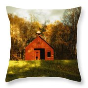 Autumn Day On School House Hill Throw Pillow by Denise Beverly
