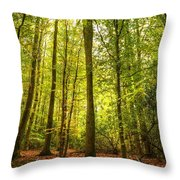 Autumn Fall Forest Landscape Magic Book Pages Throw Pillow by Matthew Gibson