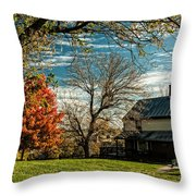 Autumn Farm House Throw Pillow by Lara Ellis