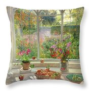 Autumn Fruit And Flowers Throw Pillow by Timothy  Easton