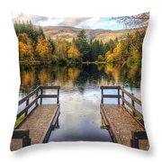 Autumn in Glencoe Lochan Throw Pillow by Dave Bowman