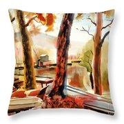 Autumn Jon Boats II Throw Pillow by Kip DeVore