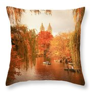 Autumn Trees - Central Park - New York City Throw Pillow by Vivienne Gucwa