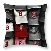 B for BoSox Throw Pillow by Joann Vitali
